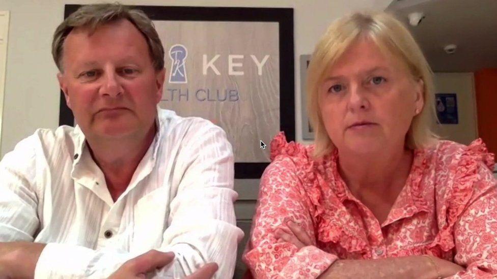 Health club owners Elizabeth and Phil Gabriel