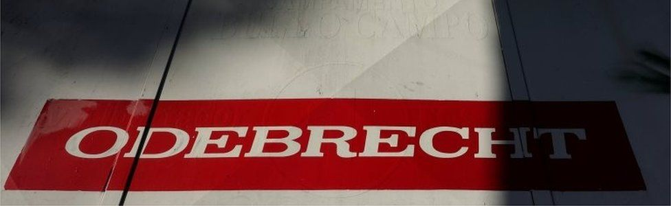The corporate logo of Odebrecht is seen in a construction site in Caracas, Venezuela January 26, 2017.