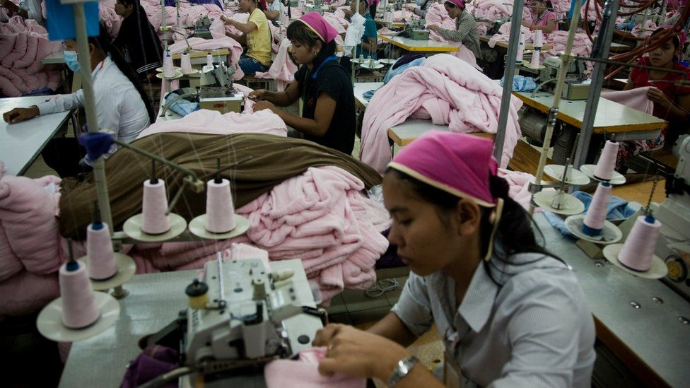 Workers at a Cambodian textile factory