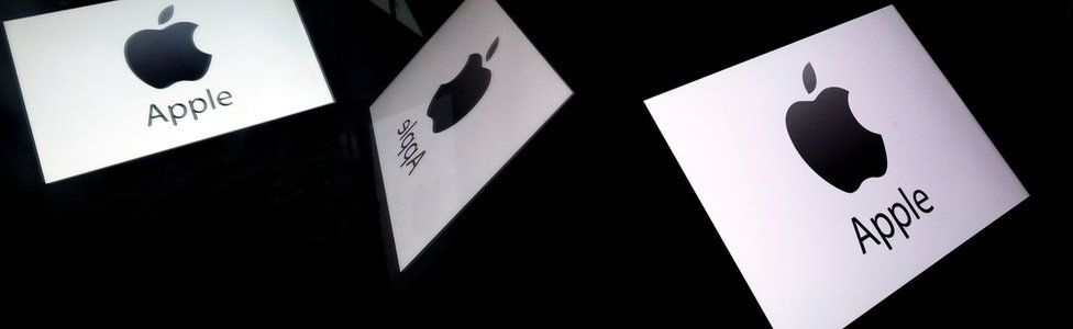 The Apple logo displayed on a tablet
