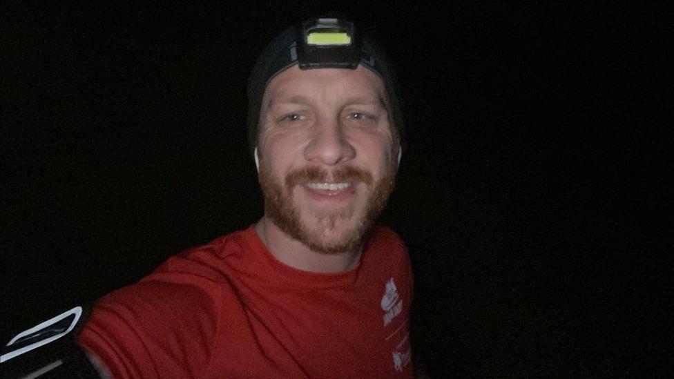 Joe Wainman selfie on a run in the dark