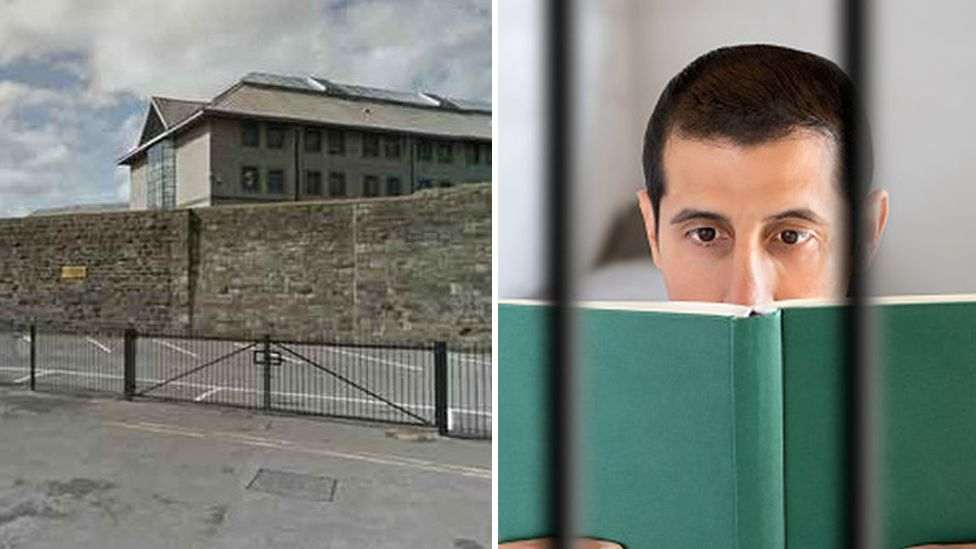 Cardiff Prison and a prisoner with a book