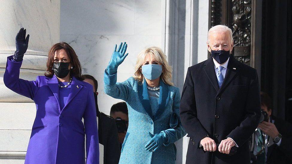 Kamala Harris (L), Jill Biden (C), and Joe Biden on Capital Hill ahead of his inauguration