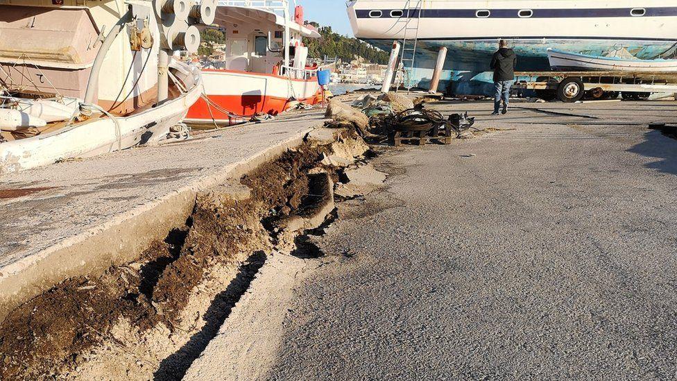 Crack at Zakynthos port after quake on 26 Oct