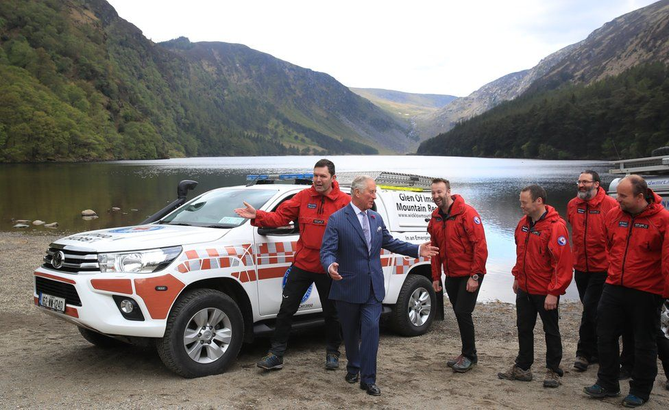 Prince Charles with the Dublin Wicklow Mountain Rescue Team