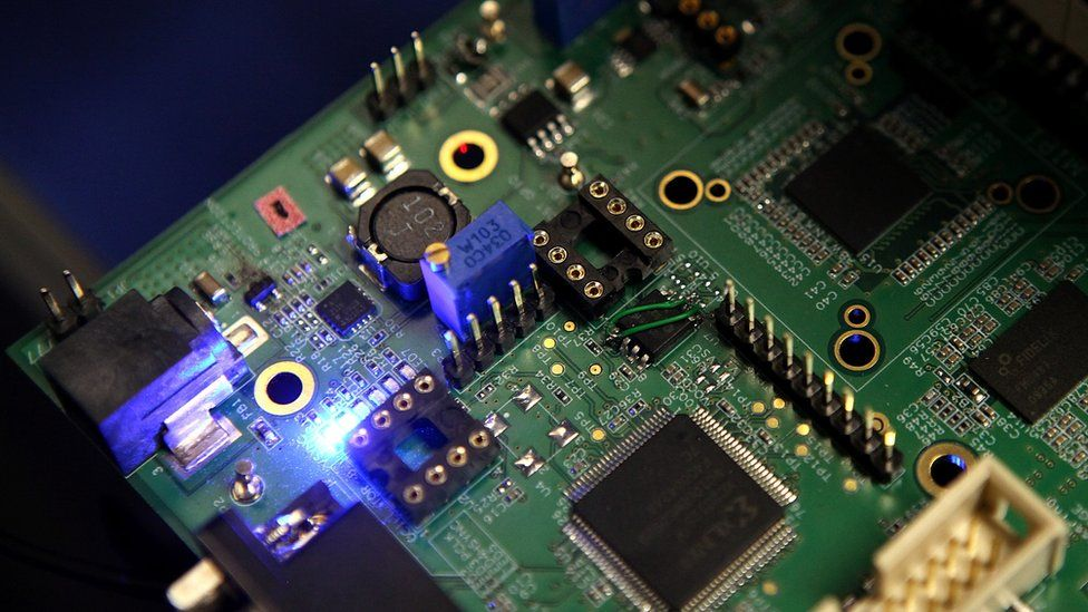 Semiconductors seen on a circuit board in 2011