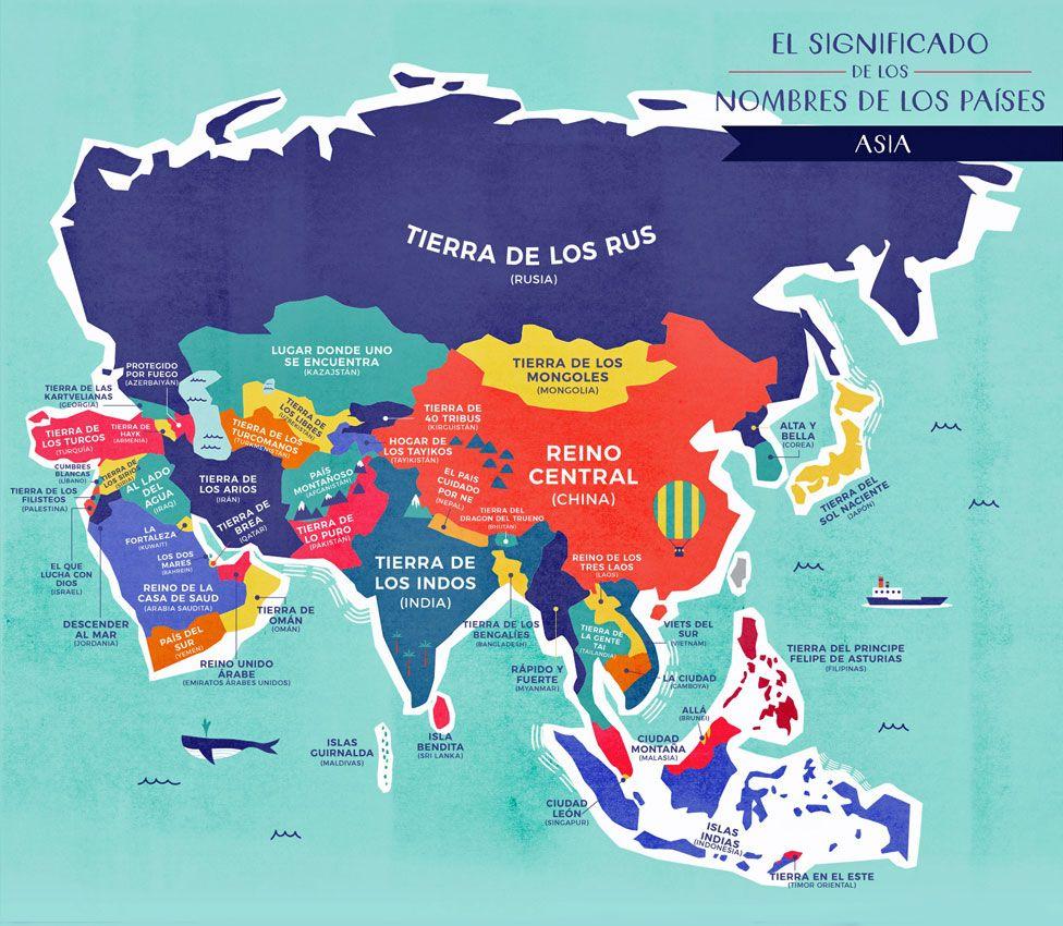 Mapa Asia con nombres traducidos