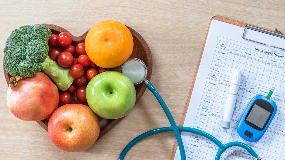 fruit and stethoscope