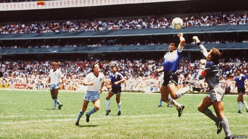 Maradona scores with his hand against England