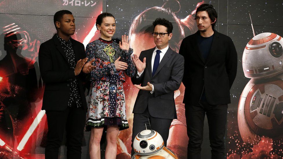 John Boyega, Daisy Ridley, JJ Abrams and Adam Driver at a press conference for Star Wars: The Force Awakens