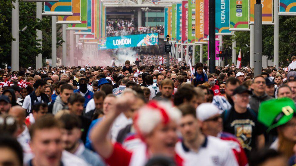 England fans outside Wembley ahead of the Euro 2020 final