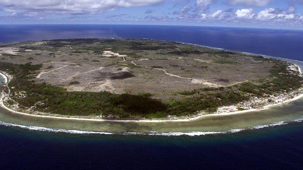 An overheard shot of the small Pacific nation of Nauru