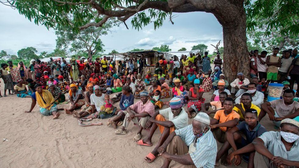 A group of displaced people in northern Mozambique