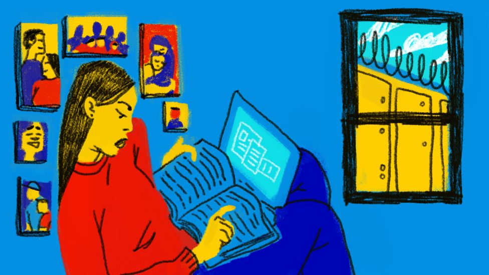 illustration of woman in her house