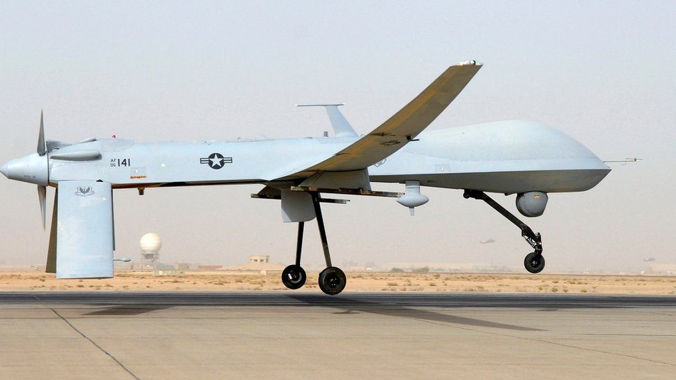 File photo showing a US Predator drone taking off in Iraq (2008)
