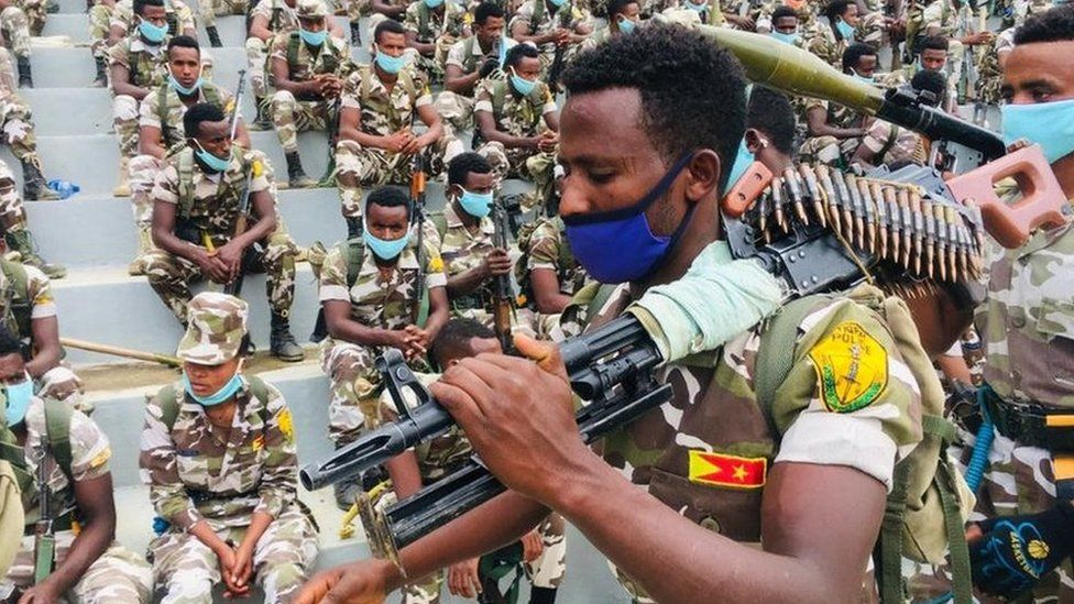 The region's special police forces paraded amid confrontation with the federal government.