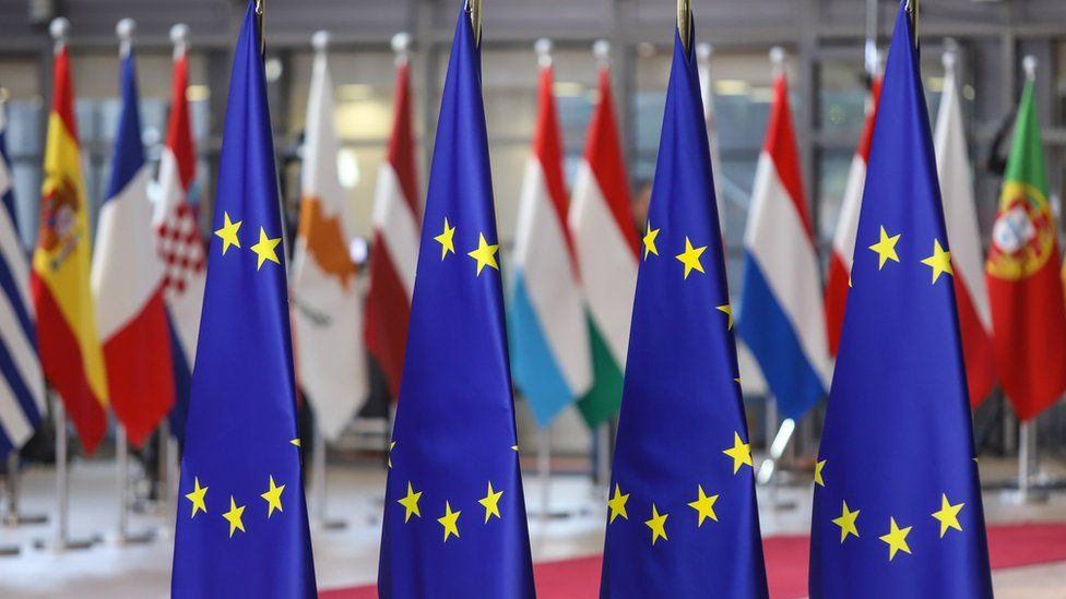 Four EU flags in the foreground and national flags in the background