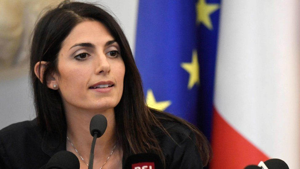 Rome Mayor Virginia Raggi speaks at press conference