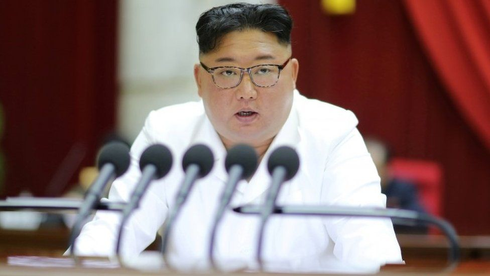 "North Korean leader Kim Jong-un speaks during the 5th Plenary Meeting of the 7th Central Committee of the Workers"" Party of Korea"