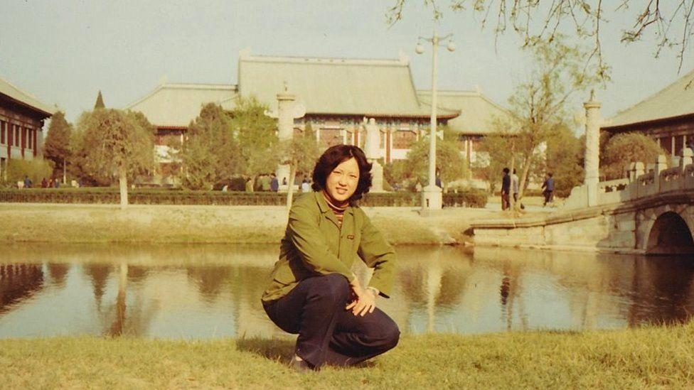 Yuwen Wu on the campus of Peking University in 1982