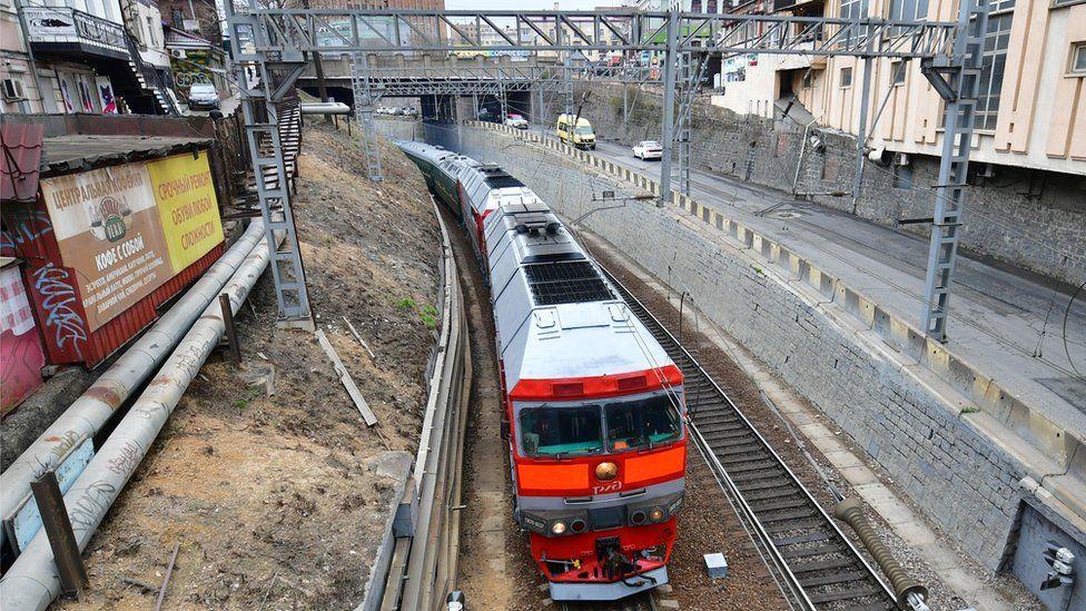 Mr Kim's train in Vladivostok