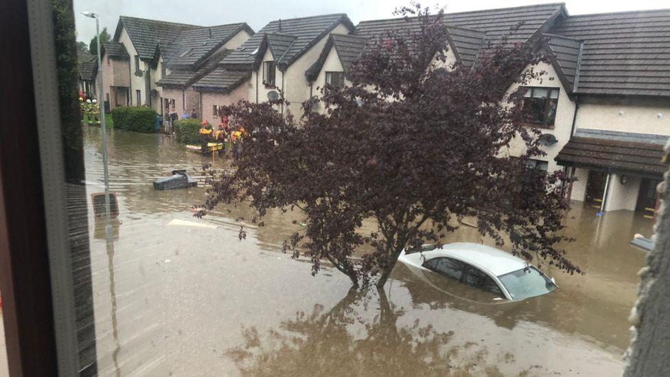 In Broxburn cars were submerged