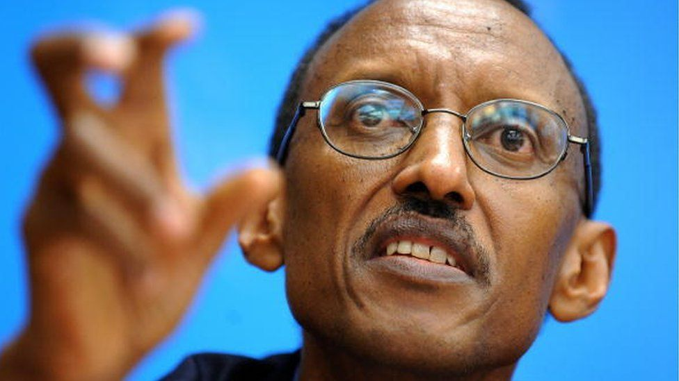 Rwandan president Paul Kagame gestures during a press conference following a high-level meeting a the International Telecommunication Union (ITU) headquarter on November 12, 2008 in Geneva.