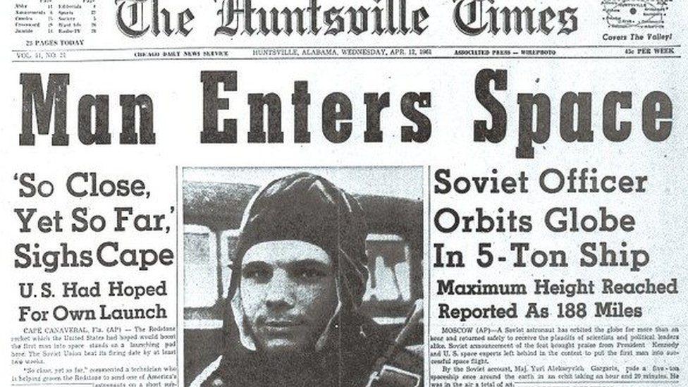 Newspaper with Yuri Gagarin on
