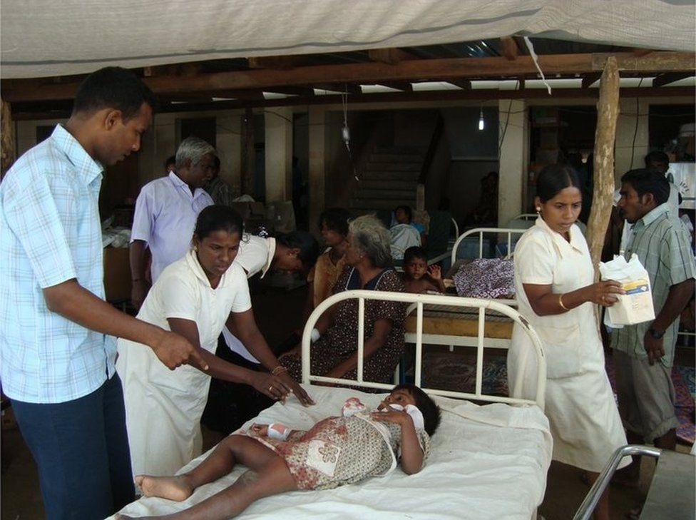 An injured child at a hospital in an LTTE-controlled area in the Vanni region in northern Sri Lanka as a result of recent fighting between government forces and the separatist Liberation Tigers of Tamil Eelam (LTTE).