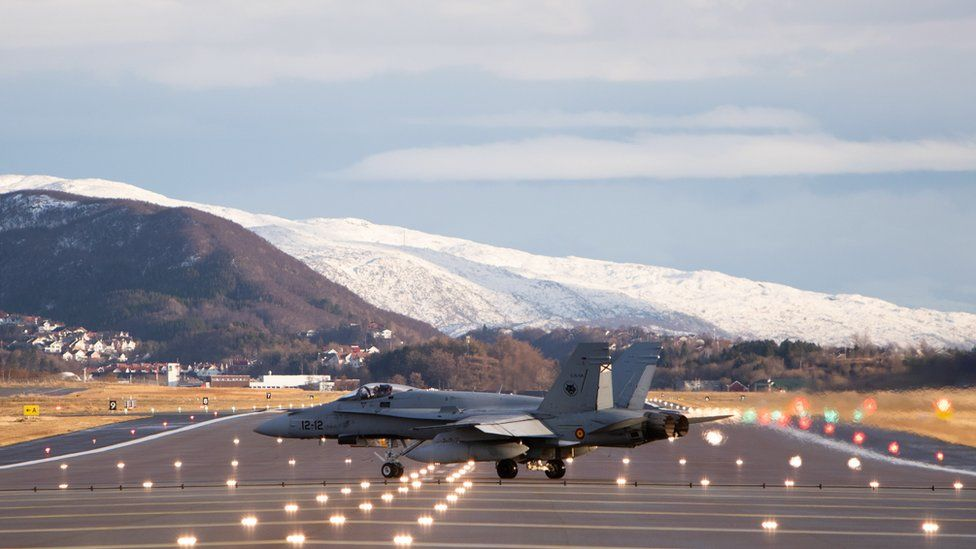 A Spanish F-18 prepares for take-off at Bodo Airport during Trident Juncture excercise in Norway, 31 October