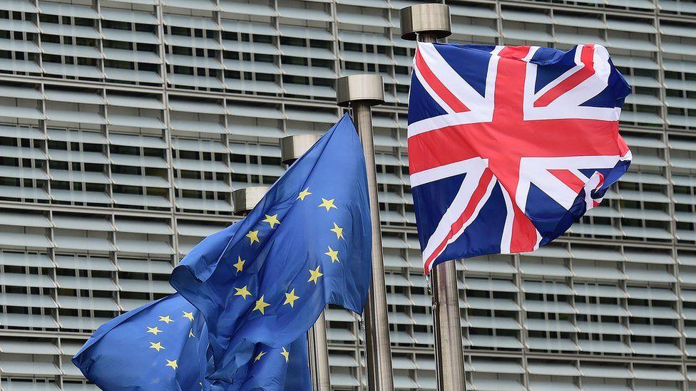 UK flag flying outside the EC building