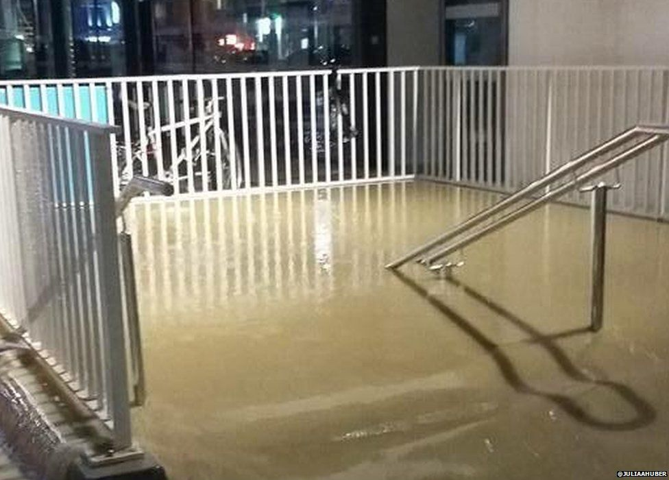 Flooding at the local train station in Cannes
