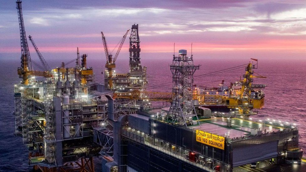 The field centre of the Johan Sverdrup oil field in the North Sea west of Stavanger, Norway, is pictured on January 7, 2020