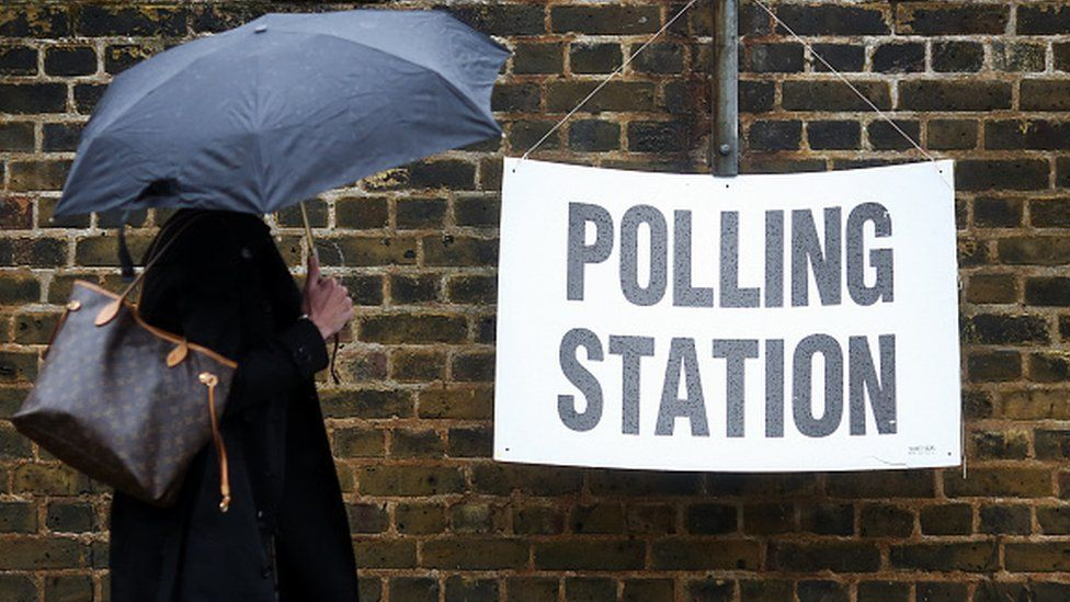 Woman with umbrella outside polling station