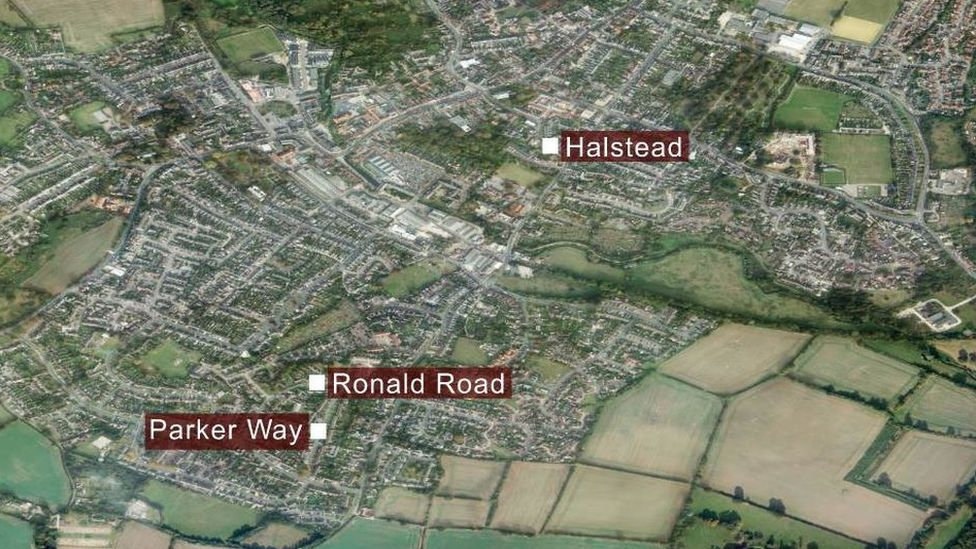 Map of Halstead showing Ronald Road and Parker Way