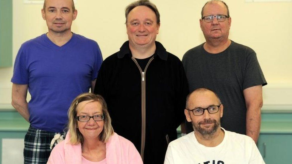 Transplant patients (back row left to right) Audrius Orinas, Aidan Murtagh, John Finnigan, (front row left to right) Fiona Anderson and John McGinley.