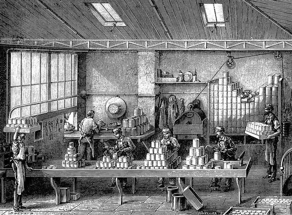 An engraving showing the food being canned in France, c1870