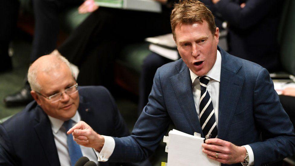 Prime Minister Scott Morrison and Attorney General Christian Porter in parliament debate