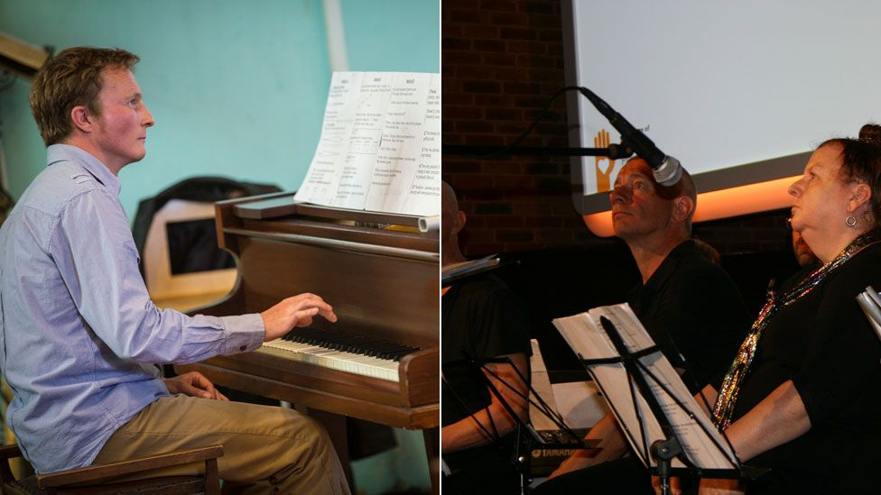 Dan Blomfield (left) The New Note Orchestra