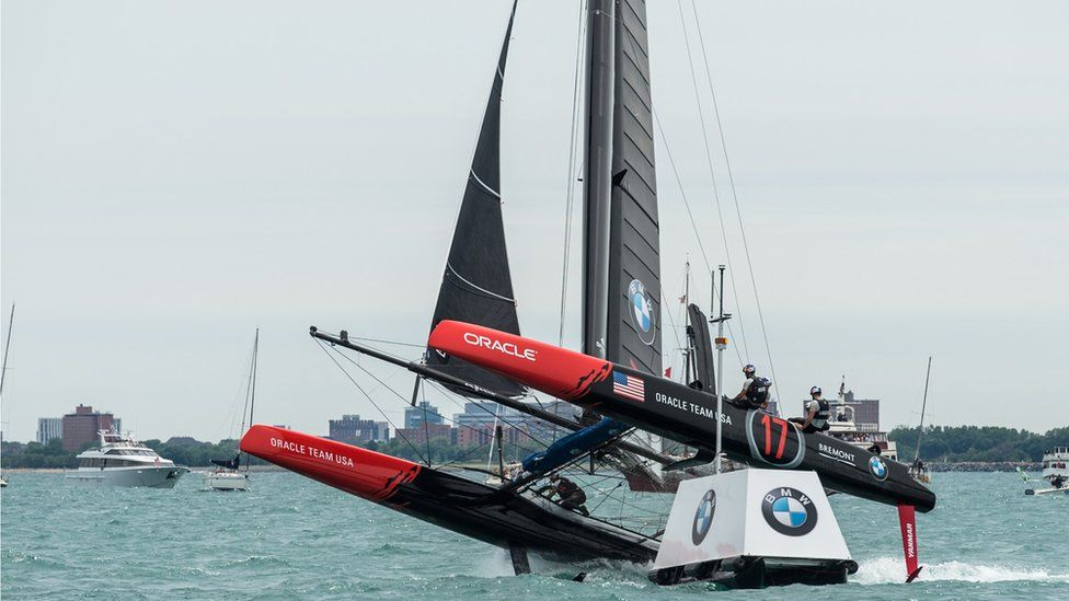 Oracle Team USA boat lifting out of water