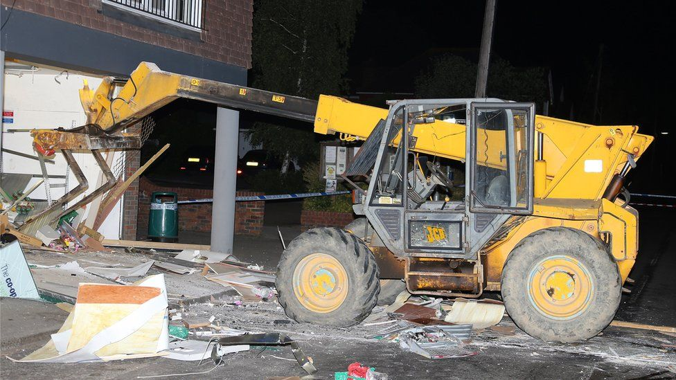 The JCB used to smash into the Co-op store
