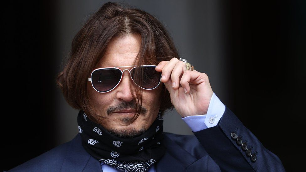 Johnny Depp outside the High Court on 17 July 2020