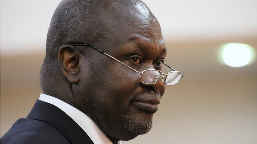 """South Sudan""""s First Vice President Riek Machar takes the oath of office at the State House in Juba, South Sudan, February 22, 2020"""