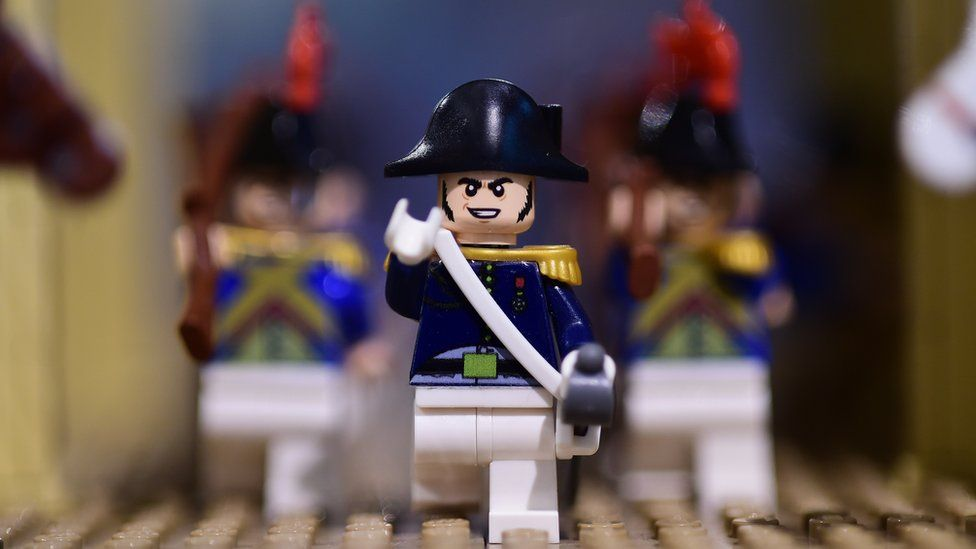 A Lego-bricks-made scene of the life of former French emperor Napoleon I, is displayed at an exhibition recreating former French emperor Napoleon I life, in Waterloo, on 29 May 2015