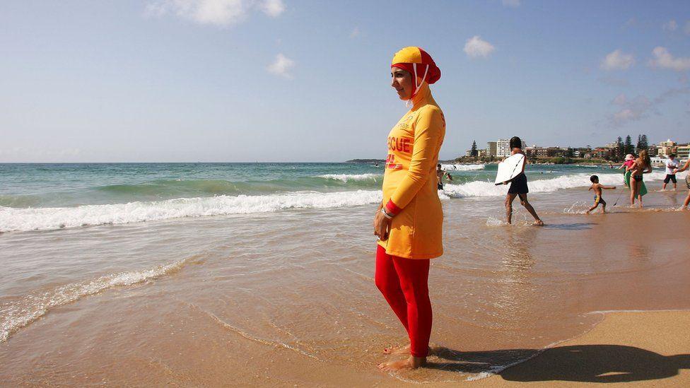 Mecca Laa Laa wears a 'Burqini' on her first surf lifesaving patrol at North Cronulla Beach February 4, 2007 in Sydney, Australia.