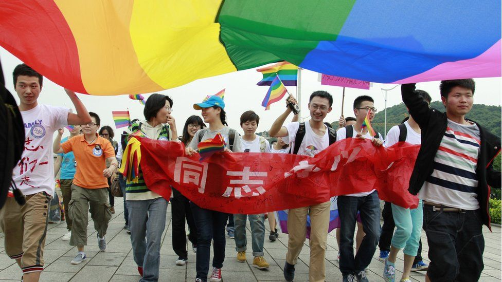 A group of LGBT protesters in China