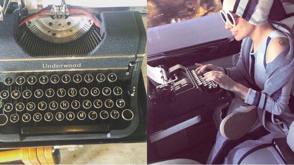 Lady Gaga and her typewriter