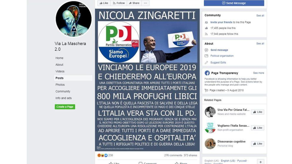 Facebook screengrab showing a post from a populist group