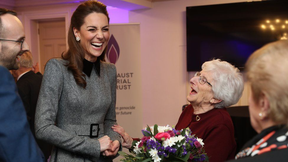 The Duchess of Cambridge shares a joke with Holocaust survivor Yvonne Bernstein after the UK Holocaust Memorial Day Commemorative Ceremony at Central Hall in Westminster