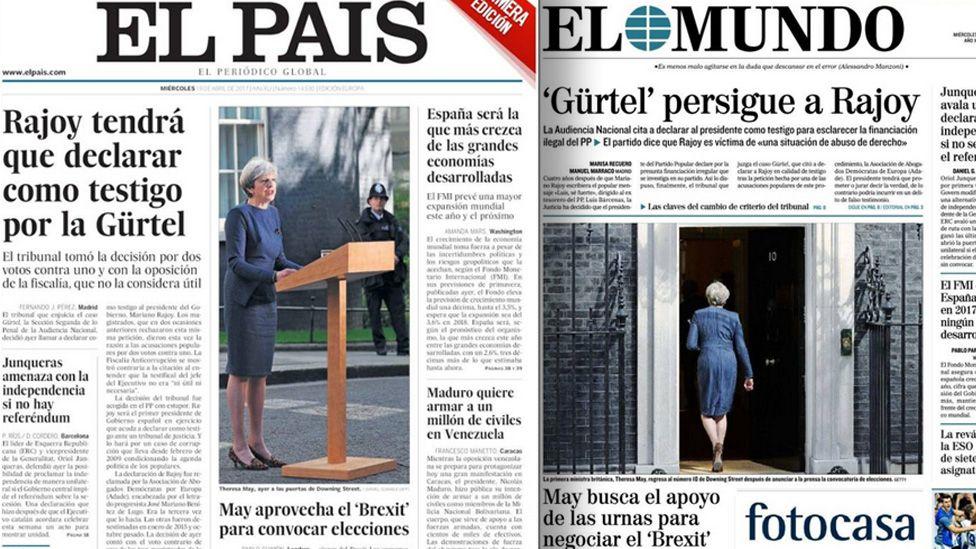 Front pages of Spain's El Pais and El Mundo